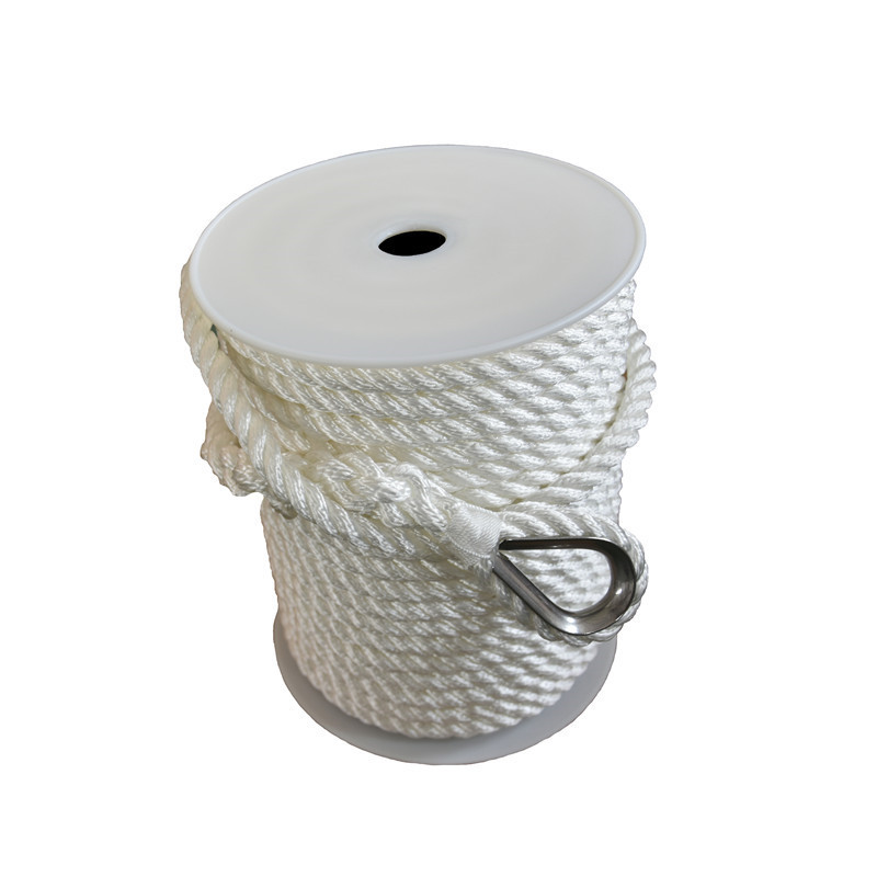 1/2inch 200ft white 3 strand twisted nylon anchor rope