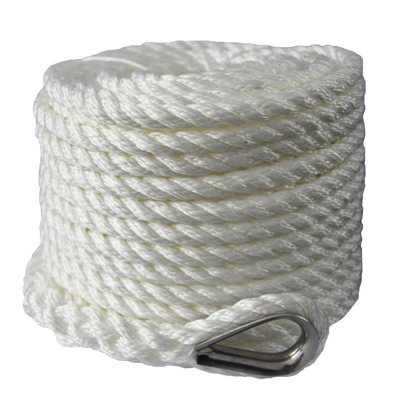1/2inch 250ft white 3 strand twisted nylon anchor rope