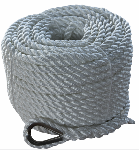 3/4*200ft white 3 strand twisted nylon anchor rope