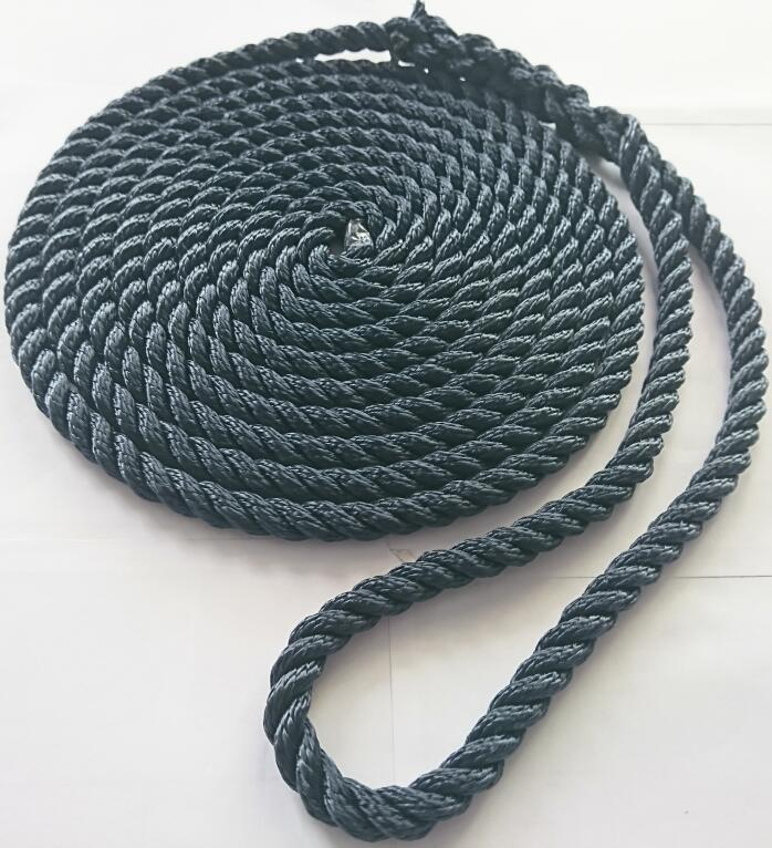 3/8*10 Nylon Polyester 3 Strand Twisted Dock Line for Yachts