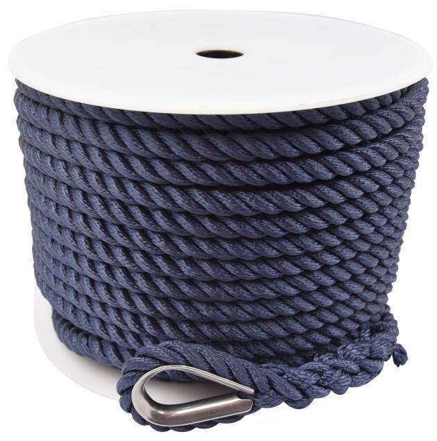 3/8*200 Nylon Polyester 3 Strand Twisted Navy Anchor Rope