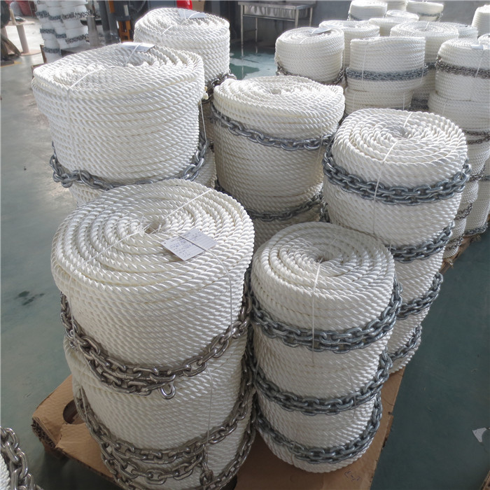 3 strand 1/2*200ft anchor line with chain mooring boat rope