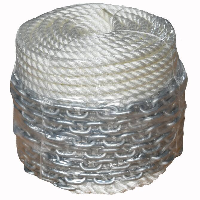 1/2*300 3 strand ANCHOR LINE with CHAIN