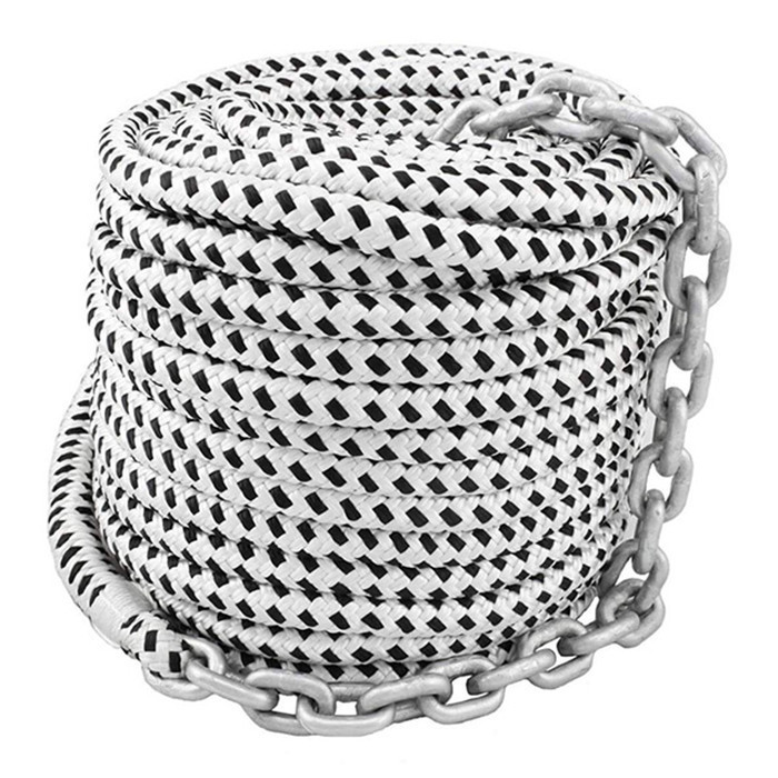 double braid 1/2*200ft nylon anchor line with chain yacht rope