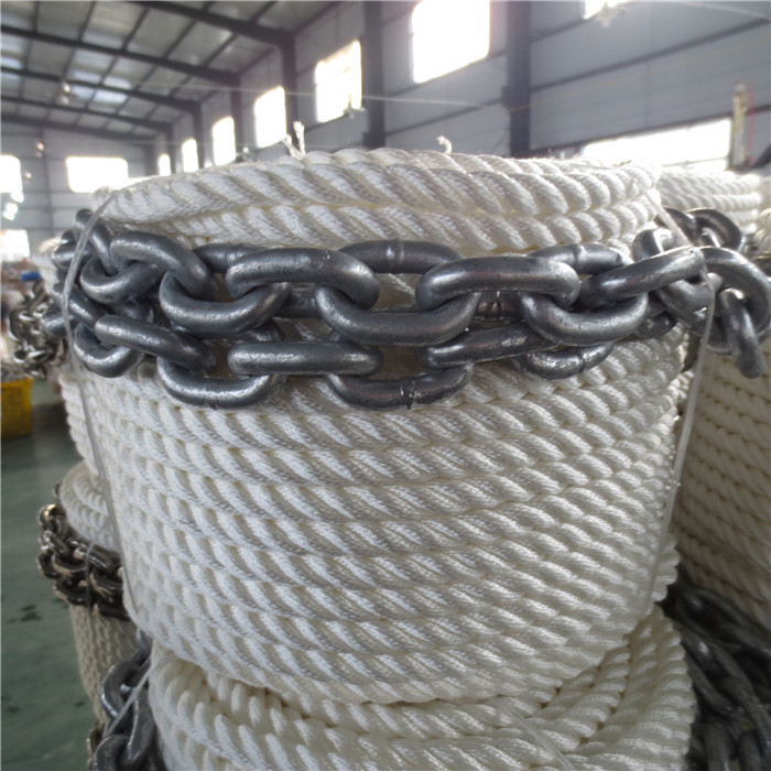 3 strand nylon anchor line with chain boat line