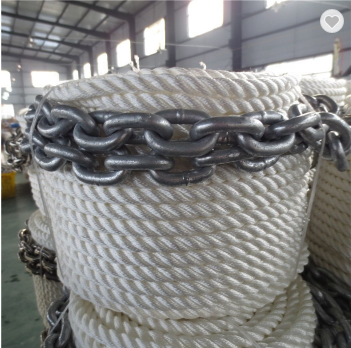 Top quality anchor line with chain with 3/8inch*50feet and 3 strand twisted
