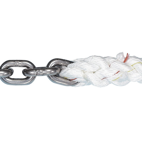 Hot sale 3 strand twisted anchor line with chain with 9/16inch*200feet for marine use