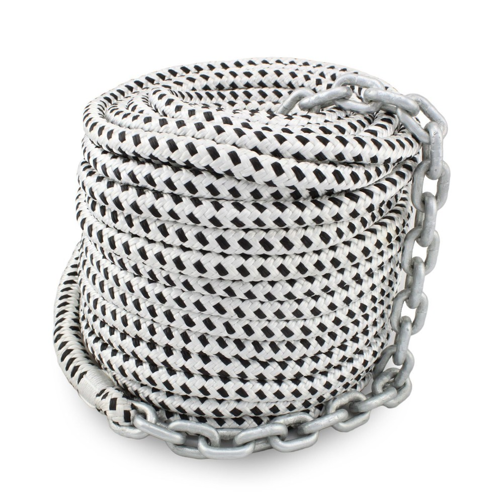 High quality double braided anchor line with chain with 9/16inch* 250feet for yacht marine use