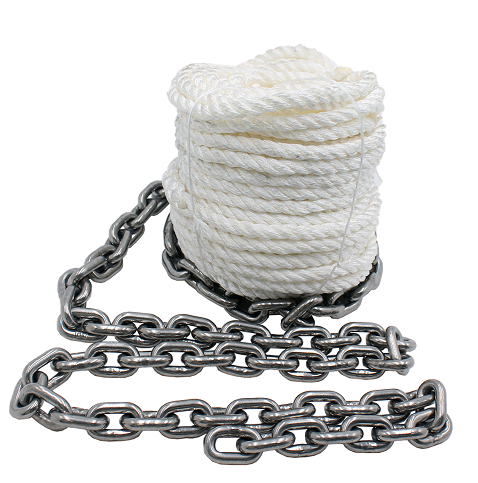 1/2*150' 3 strand twisted anchor line with chain