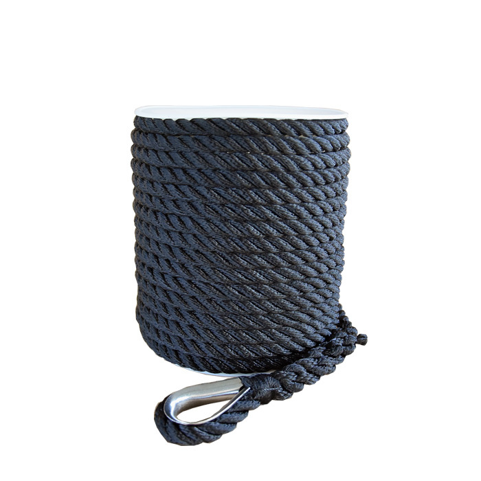 3/8*100 Black 3 strand twisted nylon anchor rope