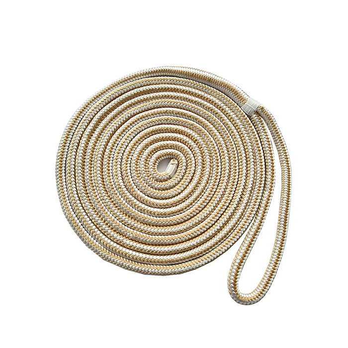 5/8*25 Gold/White Double Braided Nylon Dock Rope marine rope