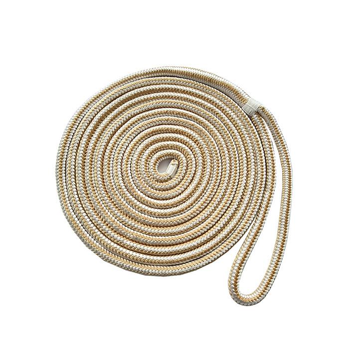 5/8*25 Gold/White Double Braided Nylon Dock Rope marine rope