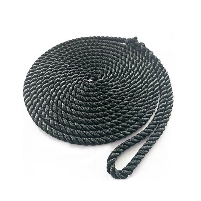 3/8*15 Black 3 Strand Twisted Polyester Dock Rope mooring rope